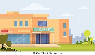 Market Shopping Mall Building Exterior Flat Vector Illustration