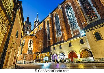 Market Square in Krakow at night, Poland