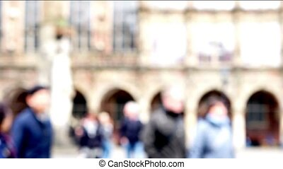 Market square people walking