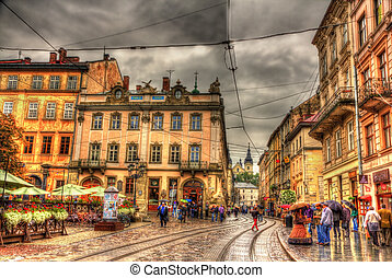 Market Square, the central square of Lviv