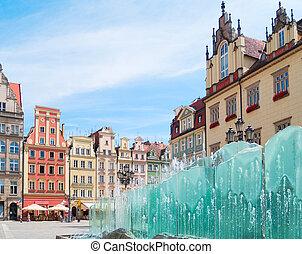 medieval market square (rynek) in Wroclaw, Poland