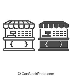 Market stall line and solid icon, Street food retail concept, Food kiosk sign on white background, Tent shop icon in outline style for mobile concept and web design. Vector graphics.