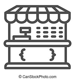 Market stall line icon, Street food retail concept, Food kiosk sign on white background, Tent shop icon in outline style for mobile concept and web design. Vector graphics.