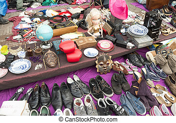 Market stall. - Market stall at the flea market at...