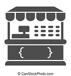 Market stall solid icon, Street food retail concept, Food kiosk sign on white background, Tent shop icon in glyph style for mobile concept and web design. Vector graphics.