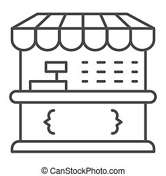 Market stall thin line icon, Street food retail concept, Food kiosk sign on white background, Tent shop icon in outline style for mobile concept and web design. Vector graphics.
