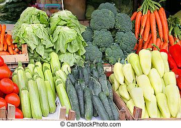 Market stall - Tidy market stall with fresh organic ...
