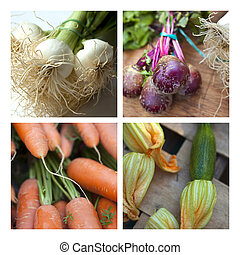 Market stall - Vegetable and market stall on a collage