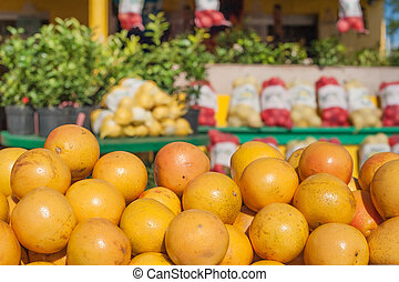 Market stall with oranges