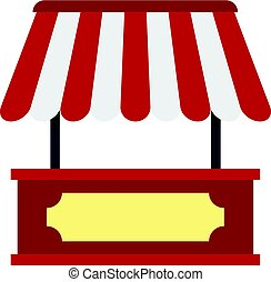 Market stall with red and white awning icon