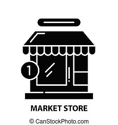 market store icon, black vector sign with editable strokes, concept illustration