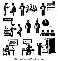A set of human pictogram representing company staff doing surveys and market analysis on the public and competitors.