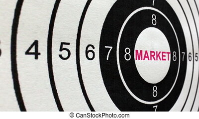 Market target concept dolly shot