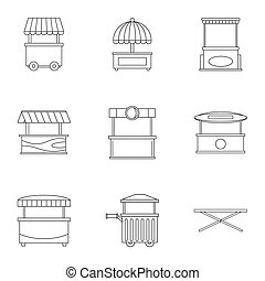 Market tent icon set, outline style