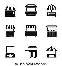 Market tent icon set, simple style