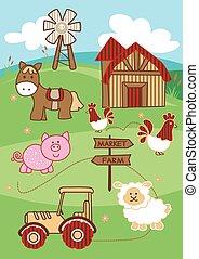 Market to farm cute farm animals on a hill