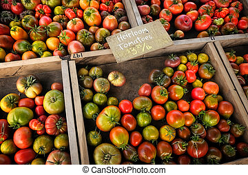Market Tomatos Heirloom Tomatoes Produce in Wooden Boxes