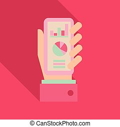 Market trend analysis on smartphone with graphs in isometric flat design style on colored background, vector infographic, eps10.