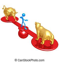 Market Trends Balance - 3D Concept And Presentation Figure