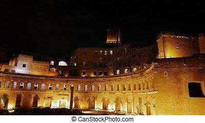 Market Trojan at night, Rome, Italy