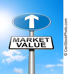 Market value concept - Illustration depicting a sign with a...