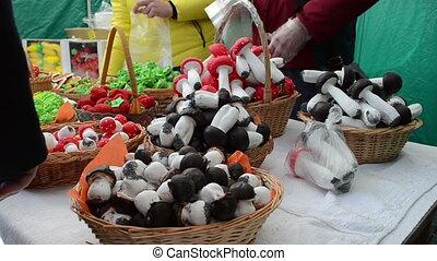 market vendor sweets - market vendors selling roasted doughy...