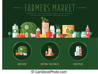 market., vetorial, ilustração, agricultores