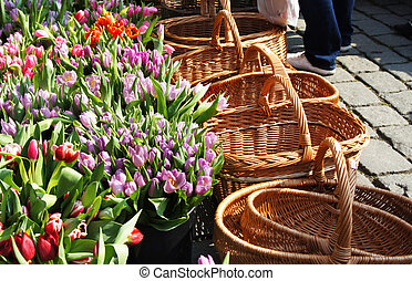 Market with a lot of tulips