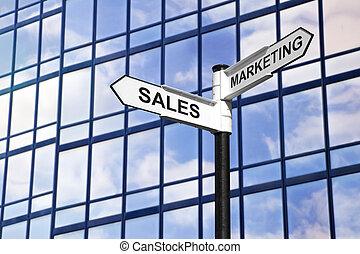 marketing, &, értékesítések, ügy, útjelző tábla