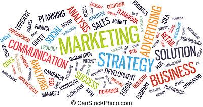 marketing, ügy stratégia, szó, felhő