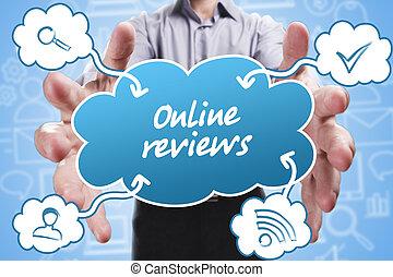 marketing., 技術, 考え, about:, インターネット, 若い, ビジネス, レビュー, オンラインで, ビジネスマン