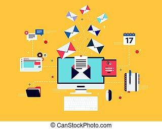 marketing., affari, marketing, ricevere, comunicazione, mandare, o, email