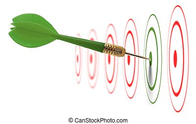marketing and communication success concept - dart hitting...