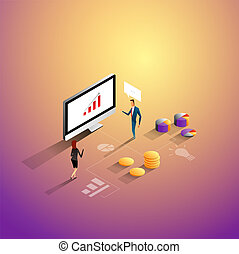 Marketing and finance concept. Business people working together and developing a successful business strategy. Vector Illustration.