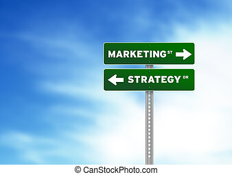 Marketing and Strategy Road Sign - High resolution graphic...