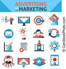 marketing, anunciando, ícones