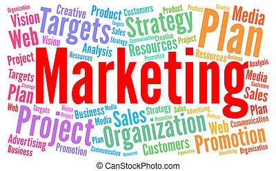 marketing, begriff, wort, wolke