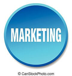marketing blue round flat isolated push button