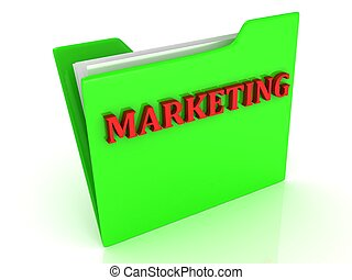 Marketing bright red letters on a green folder with papers