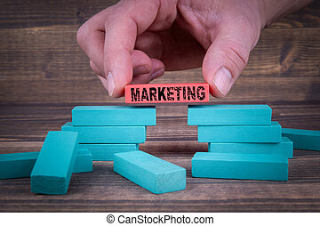 Marketing Business Concept With Wooden Blocks