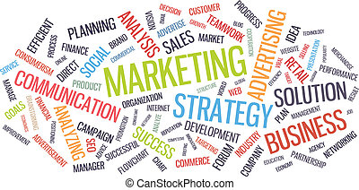 Marketing business strategy word cloud vector illustration. ...