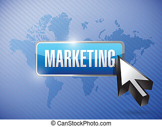 marketing button over a world map background