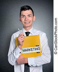 marketing, cartella, uomo