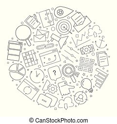 Marketing circle background from line icon. Linear vector pattern.