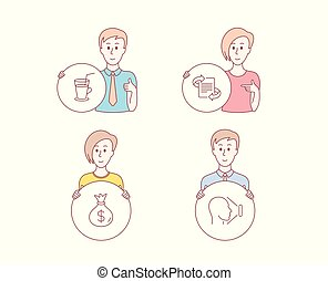Marketing, Cocktail and Money bag icons. Face id sign. Article, Fresh beverage, Usd. Vector