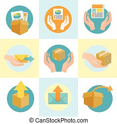 Marketing Company Digital Products Icons with Collateral and Packing Box