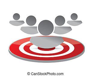 marketing, conceito, alvo, ilustração, pessoas