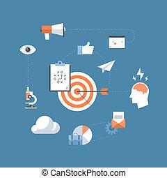 marketing, conceito, estratégia, ilustração, apartamento
