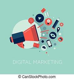 marketing, conceito, ilustração, digital