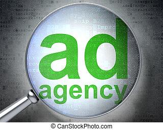 marketing, concept:, anzeige, agentur, mit, optisch, glas